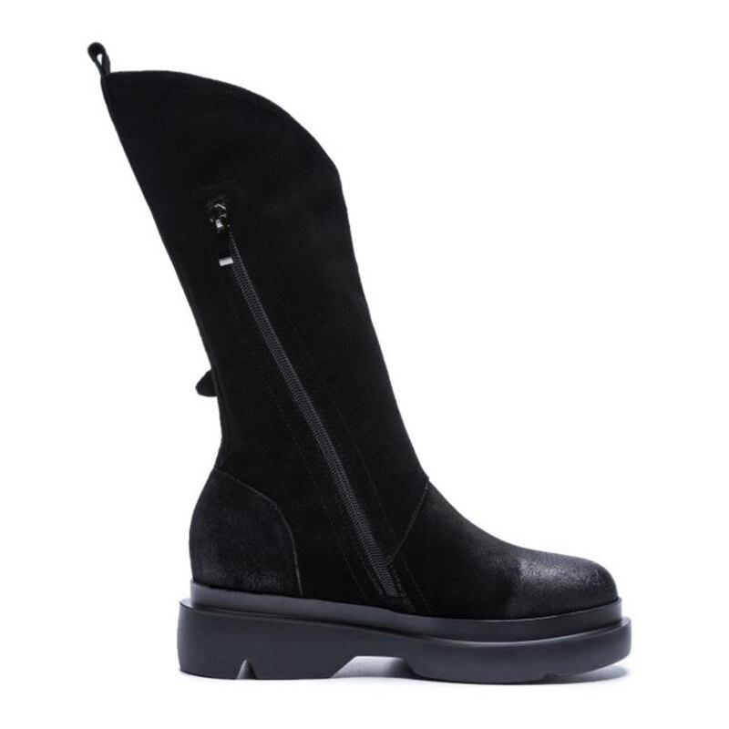 34 Nouvelles 39 Chaud Dames Véritable Métal Chaussures Boucle Femmes Appartements Noir Taille Femme Bottes Cuir D'hiver En Mi Kemekiss mollet fwTqdUq