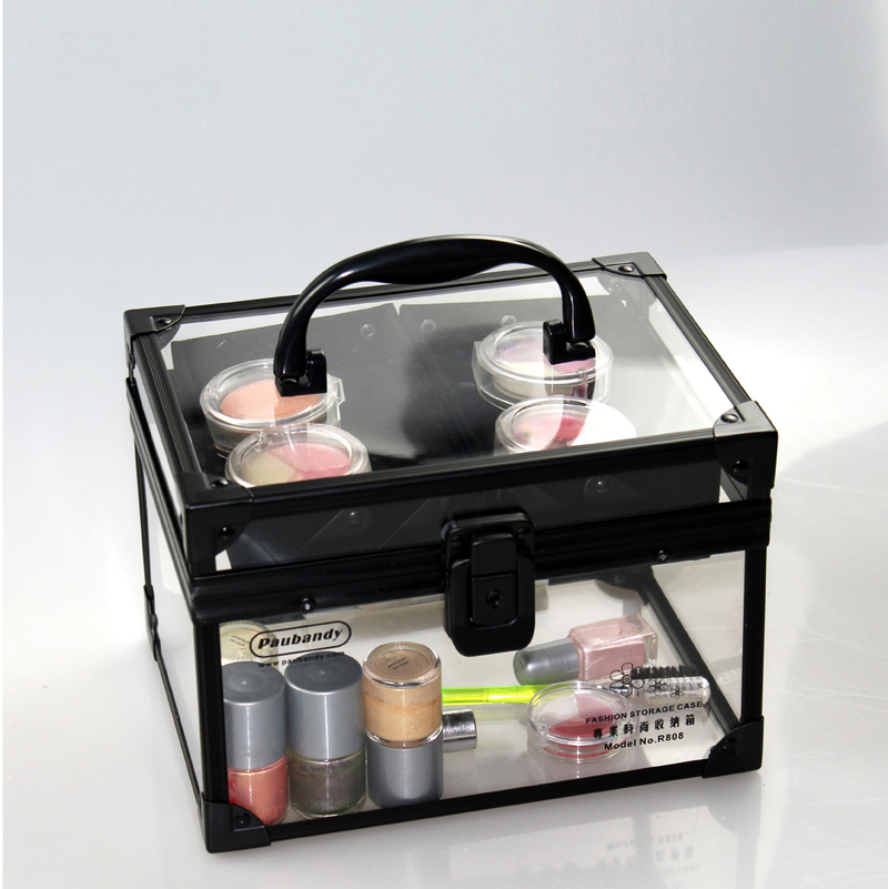 High Gade Clear Acrylic Black Aluminium Makeup Organiger with Trays CC004