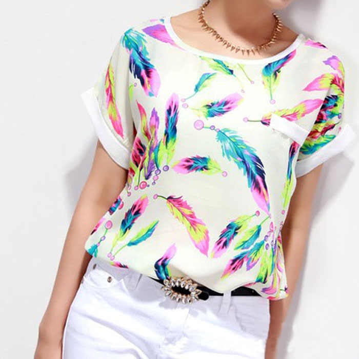 1PC Women Feathers Chiffon  Printing Round neck Wild summer tops Top Casual Short Sleeve Loose  roupas feminina#15