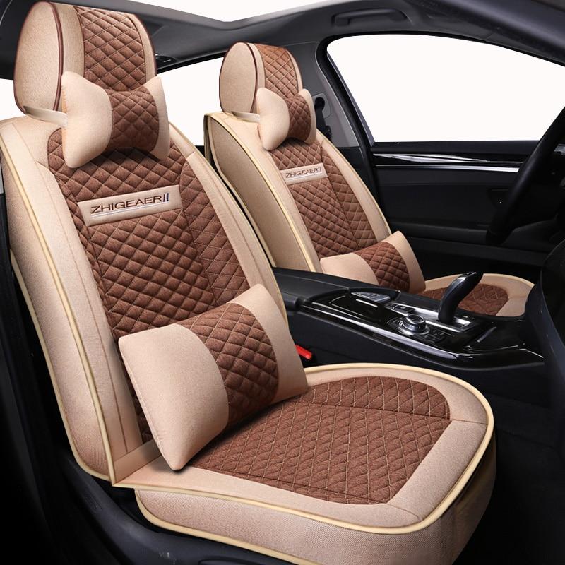 Front Rear universal Flax car seat covers For Kia soul cerato sportage optima RIO K3S