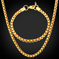 Jewelry Box Chain Bracelet Necklace Set Cool Item 5MM 55CM 21CM Hot Sale Trendy Men Gold Plated Jewelry Set GNH1148