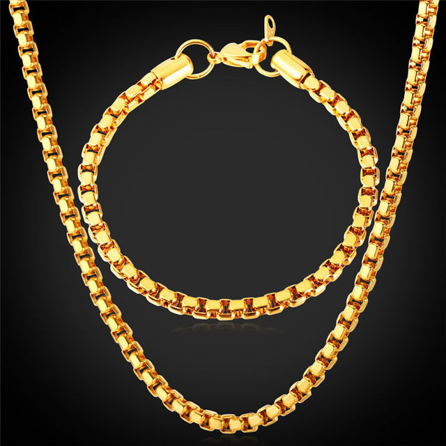 Jewelry Box Chain Bracelet Necklace Set Cool Item 5MM 55CM 21CM Hot