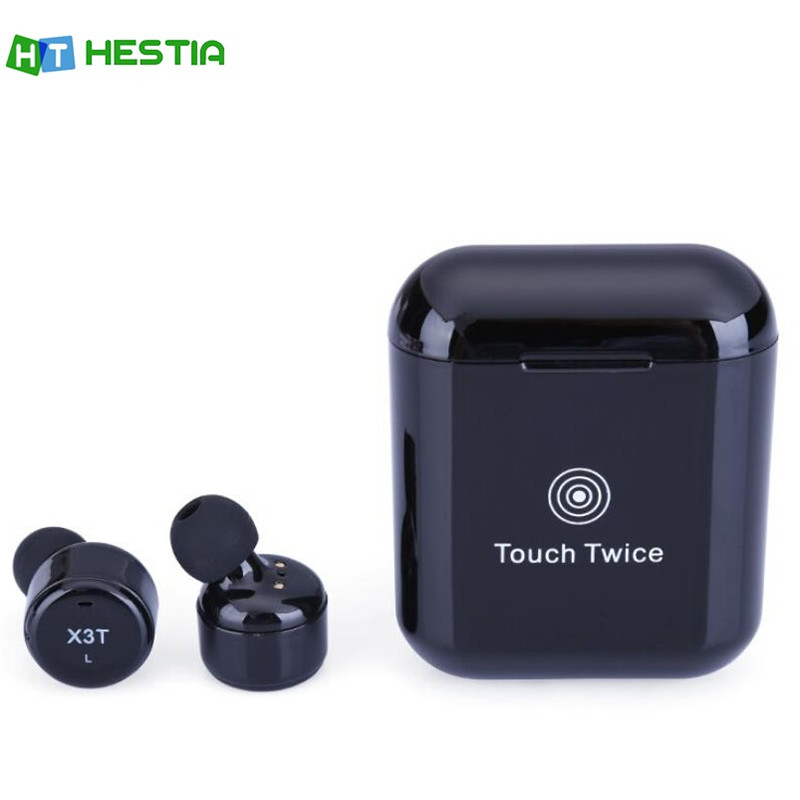 HESTIA X3T Bluetooth Earphones Wireless Mini Headsets With Microphone inear for Sport Charging Box For iPhone Android PK X2T X1T