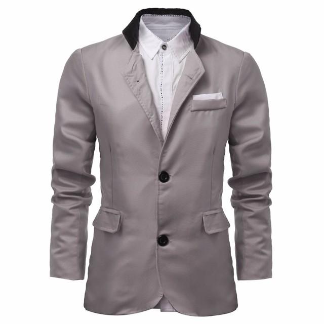 2017 Moda Mens Veste Homme Econômicos Com Dois Botões Vestido de Algodão terno Sólida Casuais Slim Fit Blazer Primavera Outono Plus Size L-3XL
