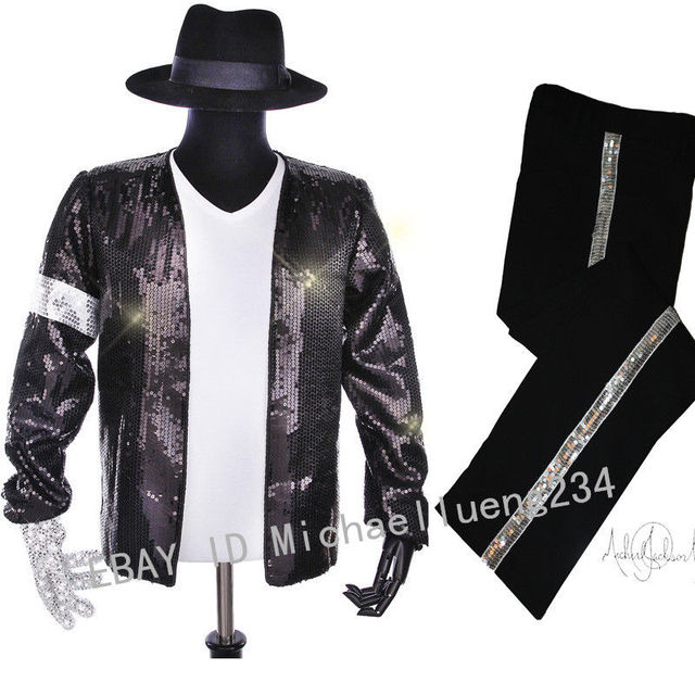 2491bbbd168 Halloween Christmas Costume Party Classic MJ Michael Jackson Billie Jean  Sequin Jacket Hat Pants Glove Socks Kids Adults Show