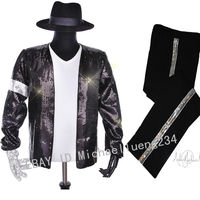 Halloween Christmas Costume Party Classic MJ Michael Jackson Billie Jean Sequin Jacket Hat Pants Glove Socks Kids Adults Show