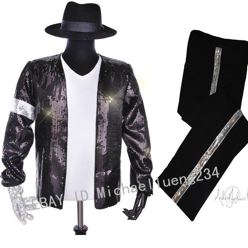 Halloween Costume de noël fête classique MJ Michael Jackson Billie Jean Sequin veste chapeau pantalon gant chaussettes enfants adultes spectacle