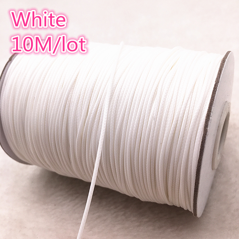 10meters 1mm White Waxed Cotton Cord Waxed Thread Cord String Strap Necklace Rope Bead DIY Jewelry Making For Shamballa Bracelet