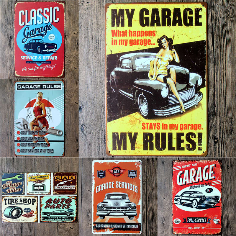 My Garage My Rules Vintage Tin Sign Tavern Shabby Chic Bar Pub Home Coffee Shop Wall