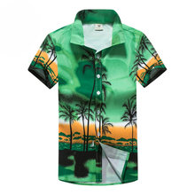 Mens Beach Shirt Aloha Hawaiian Shirt Men Short Sleeve Palm Tree Printing Shirts Summer Quick Drying Shirts Part Surfing Holiday(China)