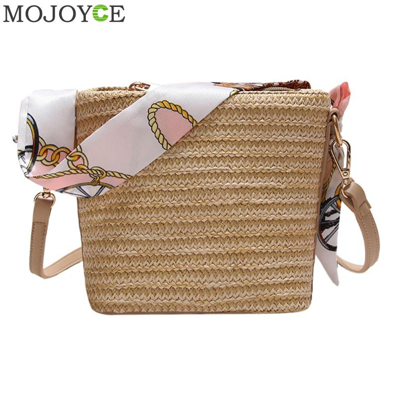 Summer Women Durable Weave Straw Beach Bags Feminine Woven Bucket Bag Grass Casual Silk Riband Handbags Knitting Rattan BagsSummer Women Durable Weave Straw Beach Bags Feminine Woven Bucket Bag Grass Casual Silk Riband Handbags Knitting Rattan Bags