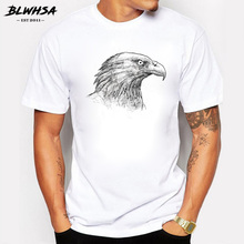 BLWHSA New Arrivals Fashion Men T-shirt Summer Eagle Head Sketch Printed Man T Shirt Cool Top Novelty Cotton Tee