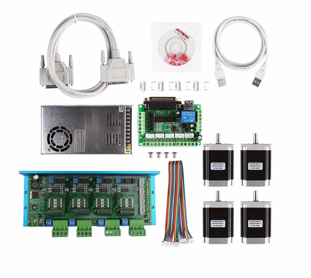 CNC Router 4 Axis Kit,TB6600 4 Axis stepper motor driver+mach3 5 axis breakout board+4pcs nema23 270oz-in motor+36V power supply dc36v 350w 9 7a switching power supply 115v 230v to stepper motor diy cnc router