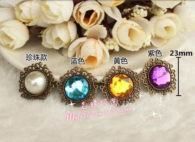 ᑐ Free Shipping 23mm Round Metal Buttons Pearl Rhinestone Button