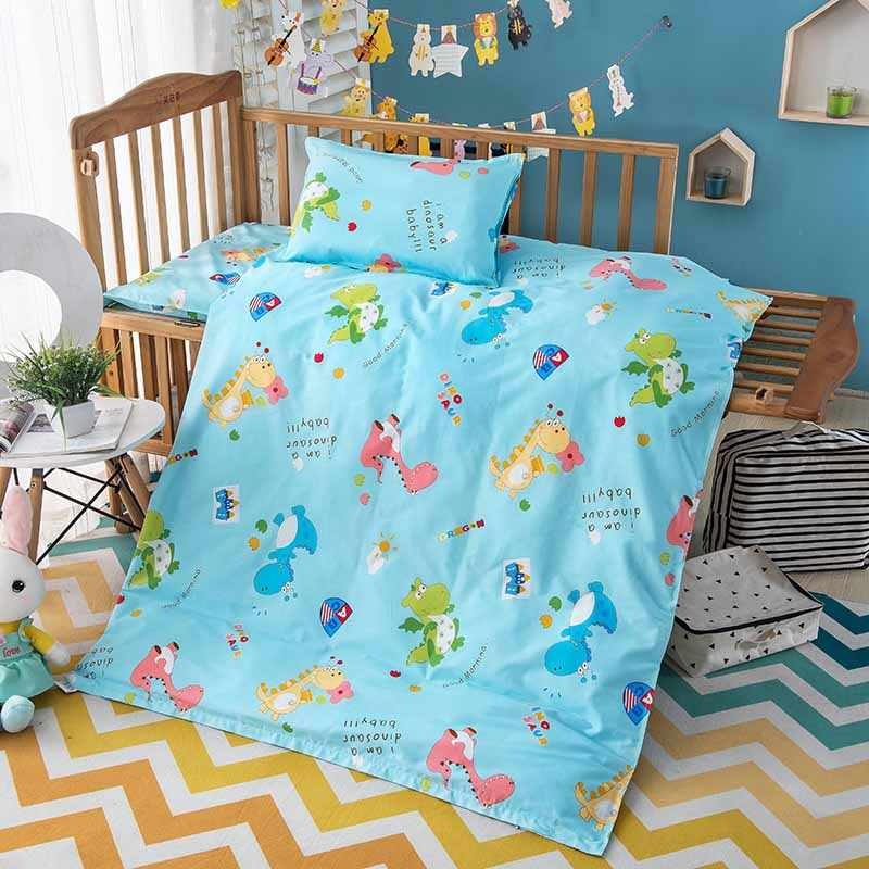 3PCS Cartoon Animal Baby Bedding Set 120*150CM Cotton Woven Duvet Cover Bed Sheet Cover Cot Pillowcase Children's Bed Linen Kit