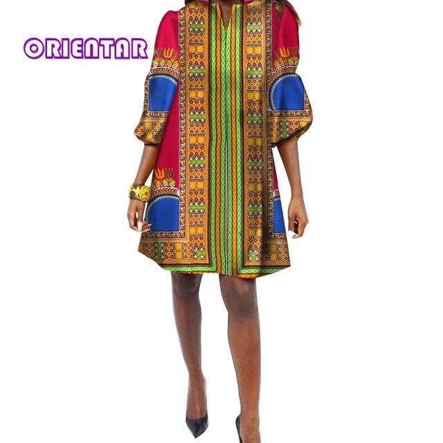 ead8a34d6cc23 2018 Traditional African Print Dress Women Three Quarter Casual Shirt Dress Dashiki  Plus Size Loose Dresses WY034