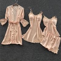Champagne 4PCS Cami&Shorts&Nighty&Robe Sleep Set 2019 New Lady Sleepwear Summer Pajamas Sets Appliques Negligee With Bra