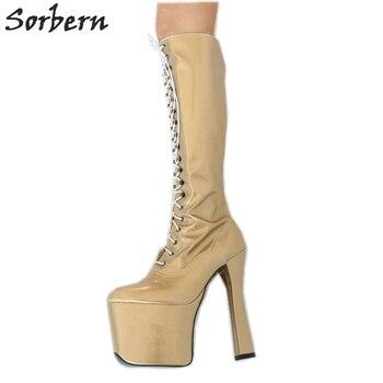 Sorbern Light Gold Knee High Boots For Women Custom Calf Size 20cm Ultra High Heeled Cosplay Boots Platform Women Boots New