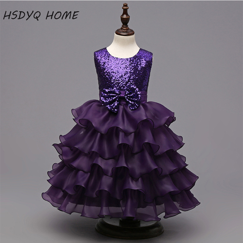 2017 New Arrival Purple Flower Girl Dresses Ball Gown Kids ...