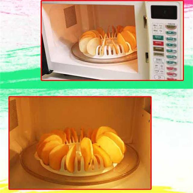 DIY Low Calories Microwave Oven Fat Free Potato Chips Maker Baking & Pastry Tools Chips Rack kitchen Tools Freeshipping  3