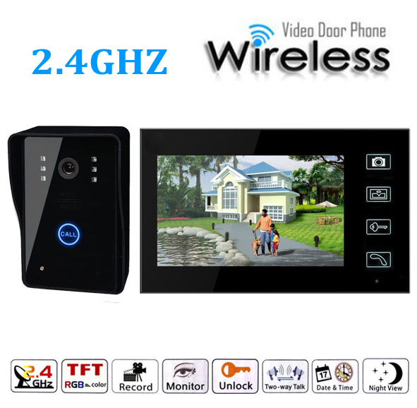 7 Inch Wireless Video Doorbell Door  Access Control Intercom System Video Door Phone 300m wireless 7 inch video door phone wireless intercom system access control