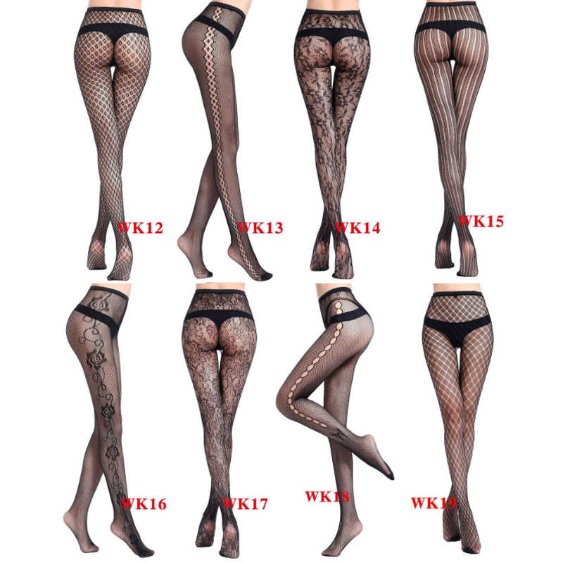 f54a6e9cf2d ... Fashion 1 Pair Women Net Pantyhose Sexy Fishnet Black Stockings  Transparent Printing Pattern Hollow Out Tights ...