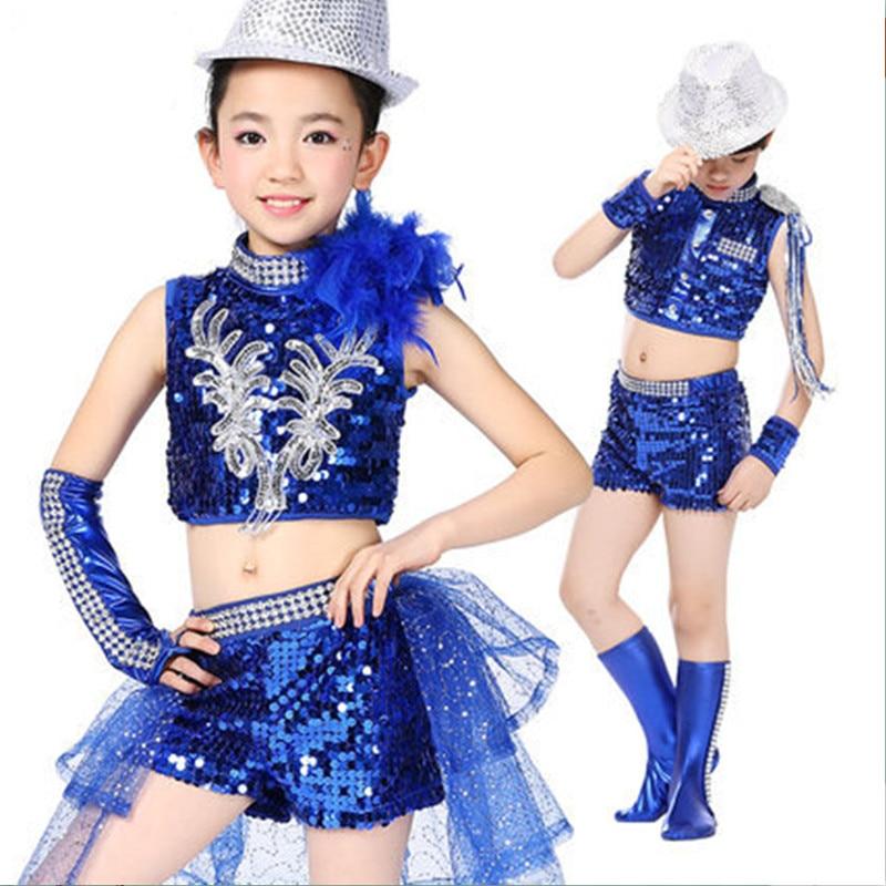 Bezmaksas piegāde 2017. gada vairumtirdzniecības bērnu meiteņu džeza deju kostīmi zilā / melnā krāsā bērniem dovetail tērpi sequins performance dancewear