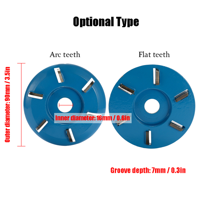 90mm Diameter 16mm Bore Power Wood Carving Disc Milling Cutter Attachment Three Six Teeth Arc/Flat for Angle Grinder Attachment 3