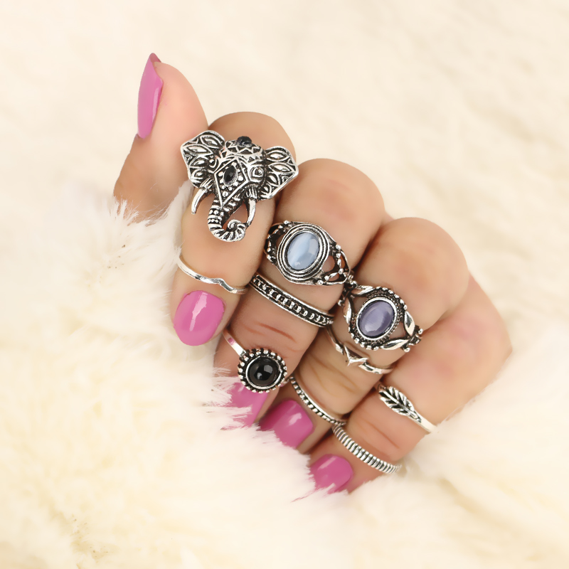 Docona-10pcs-Set-Vintage-Antique-Silver-Color-Opals-Elephant-Knuckle-Midi-Finger-Rings-Sets-for-Women