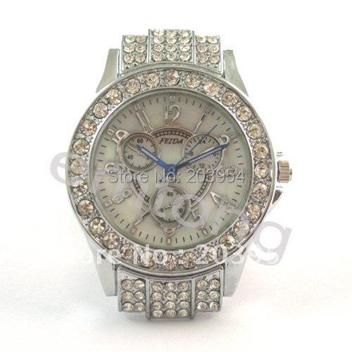 Watch White Womens Fashion Quartz for Dial Analog Wrist 1pcs Crystal New-Stone