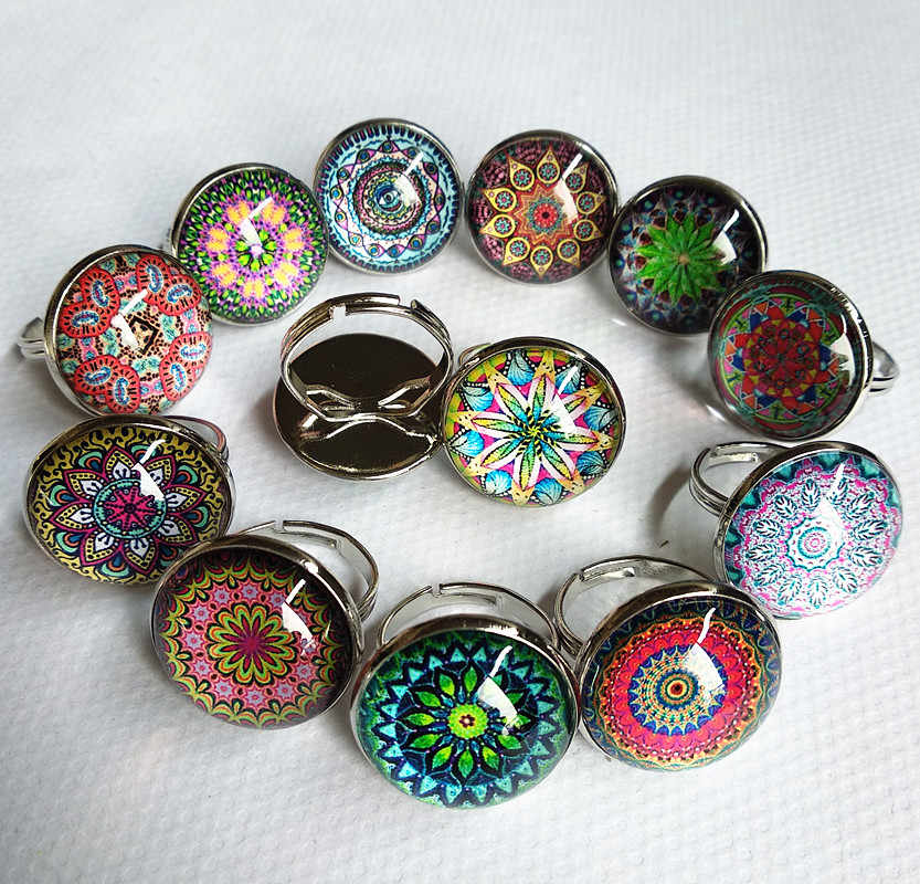 Jiangzimei 24pcs spring summer style Indian Mandala flower,tree of life bird Glass cabochons adjustable finger ring wholesale