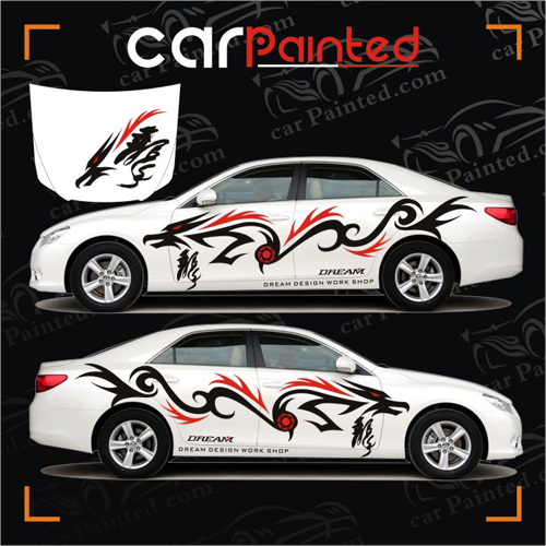Dragon Totem Car Garland Reiz Whole Stickers Red Black Body Protective Film Automotive Exterior Refit On Aliexpress Alibaba Group