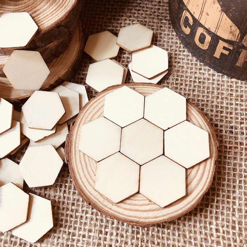 100pcs Wooden Crafts Hexagonal Pieces Ornaments Scrapbooking Crafts Laser Cut Unfinished Wood Embellishment DIY Home Decoration
