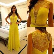 Mel Qiao Rendas Chiffon Ocasião Especial Vestido de Noite Amarelo 2017 A-line Até O Chão Ver Através Voltar Vestidos Formais Vestidos(China (Mainland))