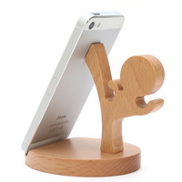 High-end Beech Made Kung Fu Boy Holder for Photo Tablet 360 Degree Rotation Wood Home Decoration 11.5 x 10 x 8 cm