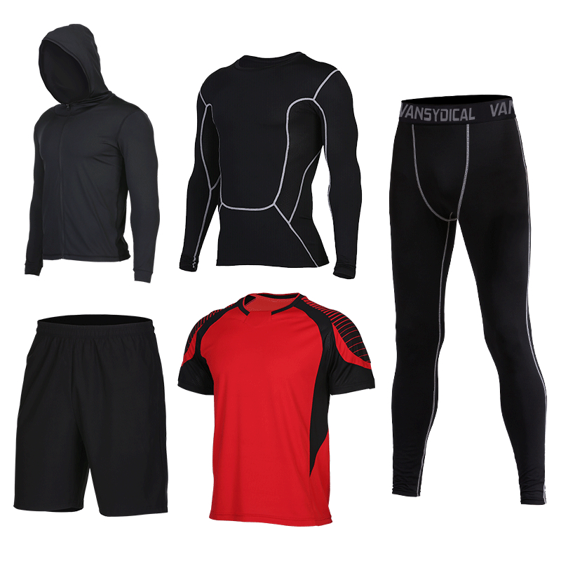 2017 New Compression Sport Suits Men's Fitness Running Sets Basketball Tracksuit Clothes Quick Dry Gym Jogging Men's Sport Suits 2017 compression 5pcs men fitness clothing sets quick dry sports running suit hood basketball soccer gym training jogging suits