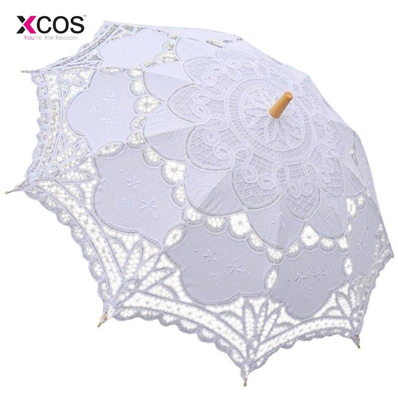 Free Shipping Lace Manual Opening Wedding Umbrella Bride Parasol Umbrella Accessories For Wedding Bridal Shower Umbrella
