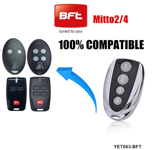 Free shipping 5pcs 433M Compatible BFT Mitto 2 remote for gate garage Door