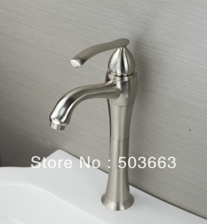 Shine Single Lever Deck Mounted Nickel Brushed Finish Bathroom Basin Sink Faucet Vanity Mixer Tap L-6025 Mixer Tap Faucet