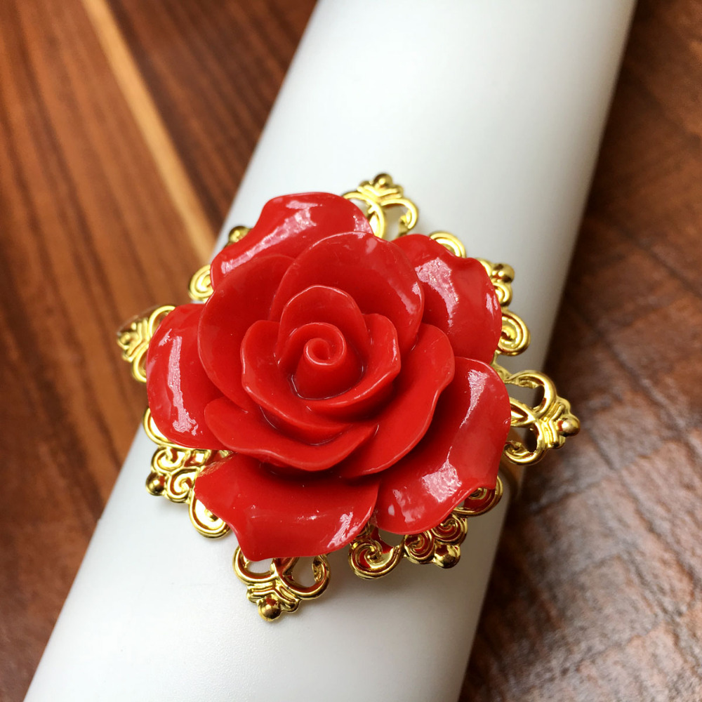 50Pieces Red Rose Flower Decor Gold Napkin Rings Holder Hoops Romantic Nice Looking Weeding Party Table Decoration