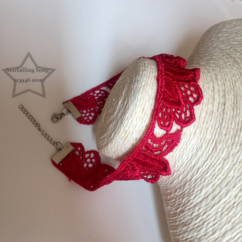 Handmade 2.4CM Chemical Lace Red Flower Fabric & Stainless Steel Findings Jewelry Choker Necklaces