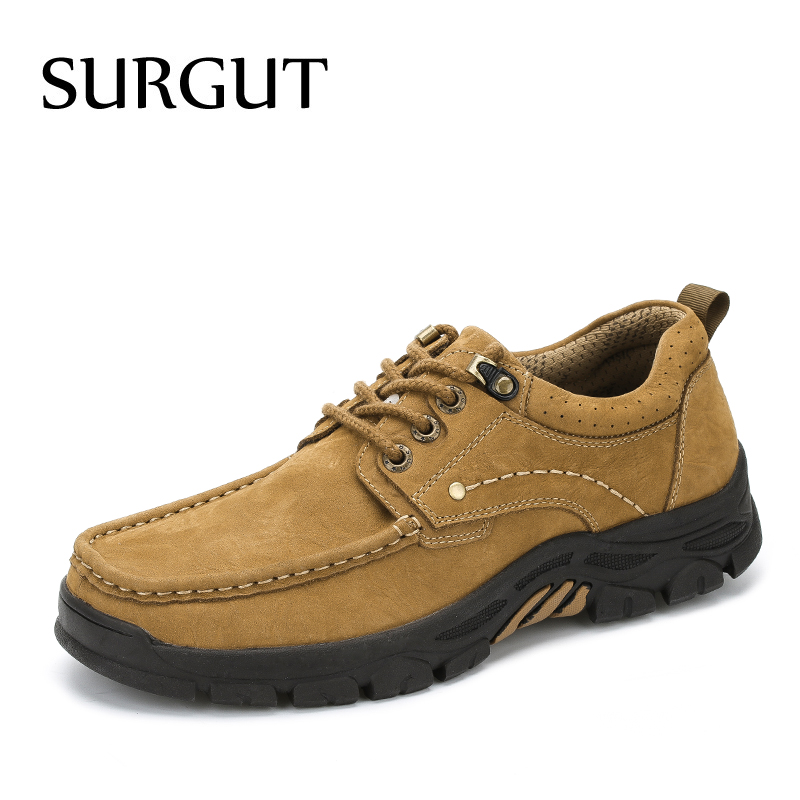 SURGUT Spring Autumn Comfortable Genuine Leather Men Casual Shoes Fashion Men Breathable Vintage Classic Flats Shoes Size 38-45 micro micro 2017 men casual shoes comfortable spring fashion breathable white shoes swallow pattern microfiber shoe yj a081