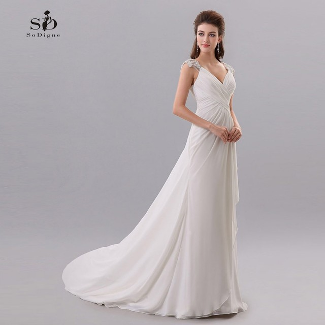 Wedding Dress Beach 2017 Cheap Chiffon Simple Brides Dress Romantic ...