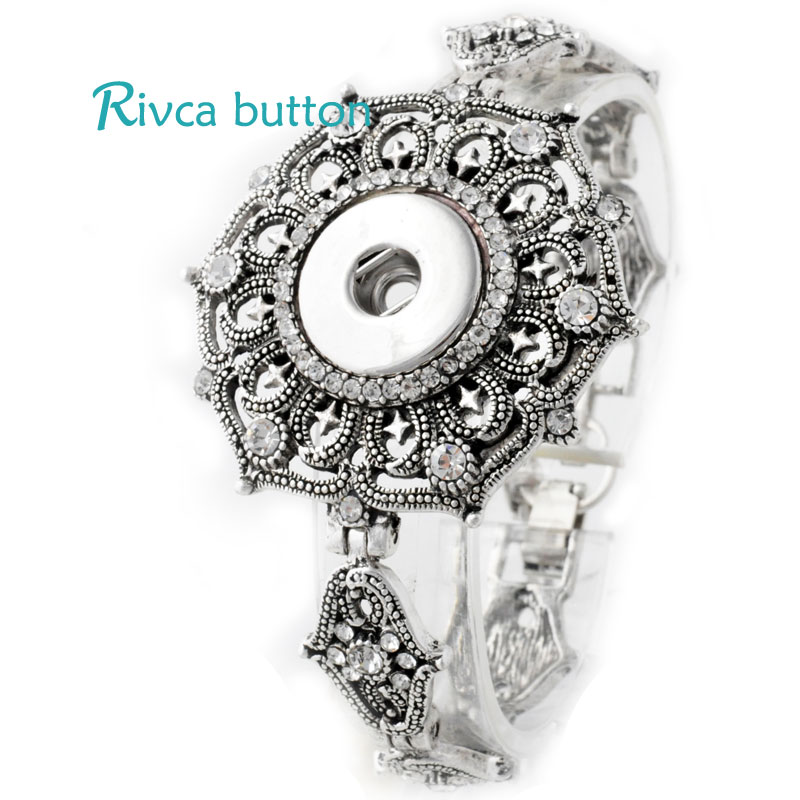 Hot Antique Flower Ring Snap Button Fit 12MM Noosa Charm jewelry For Women