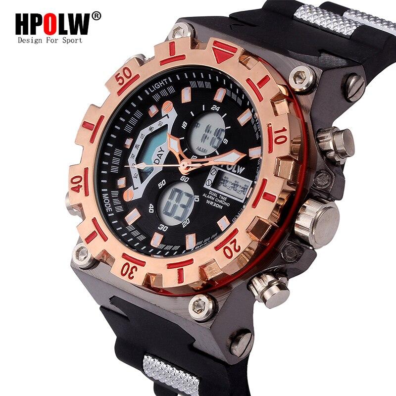 LED Electronic Watches HPOLW Brand Fashion Digital Watch Men Sport Shock Analog Quartz-Watch Mens Relogio Masculino xfcs