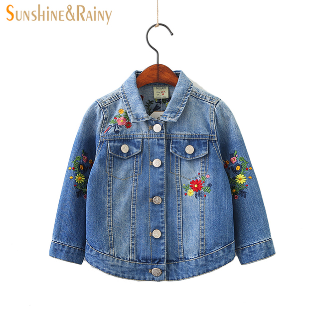 a924b5cd4833 Sunshine   Rainy 2018 Spring Kids Denim Jacket Flower Embroidered ...