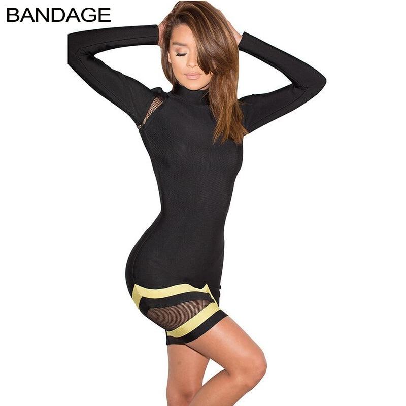 2019 femmes printemps mode Nova maille Mini robes courtes Patchwork Sexy col roulé moulante partie mince Bandage à manches longues robe