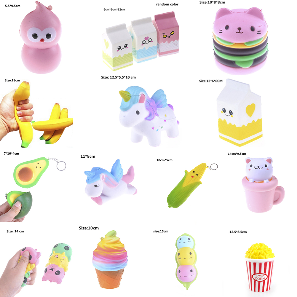 2020 Funny Jumbo Squishy Toys Children Slow Rising Antistress Toy Cat Hamburger Fries Squishies Stress Relief Toy Kids Gift Toy