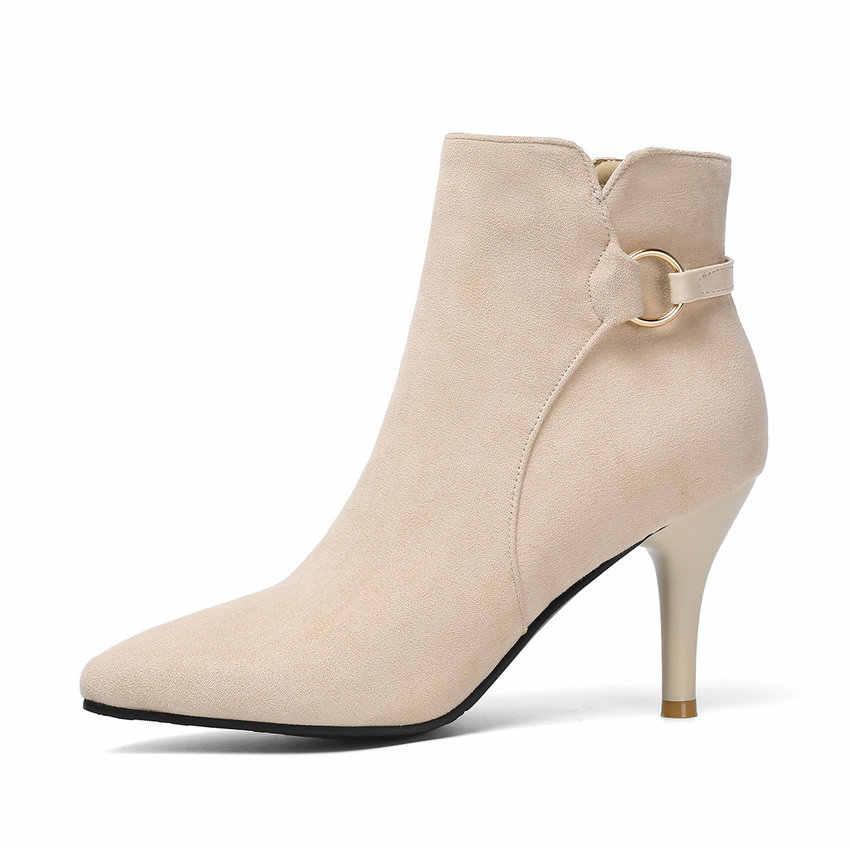 QUTAA 2020 Moda Metal Dekorasyon Fermuar Çizmeler Seksi Sivri Burun Ince Yüksek Topuk yarım çizmeler Akın Kış Kadın Ayakkabı Boyutu 34 -43