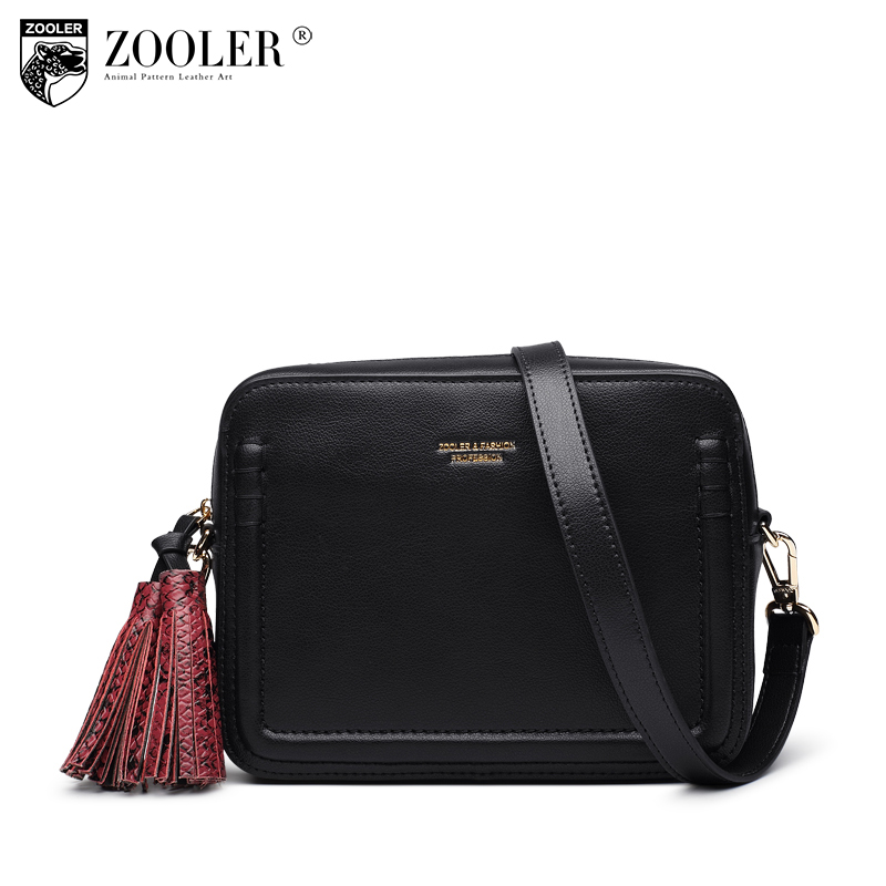 ZOOLER Brand genuine leather women messenger bag with tassel casual female fashion style crossbody small bags ladies retro A105 zooler brand genuine leather shoulder bags for women casual messenger bag ladies small cowhide leather crossbody bags sac a main